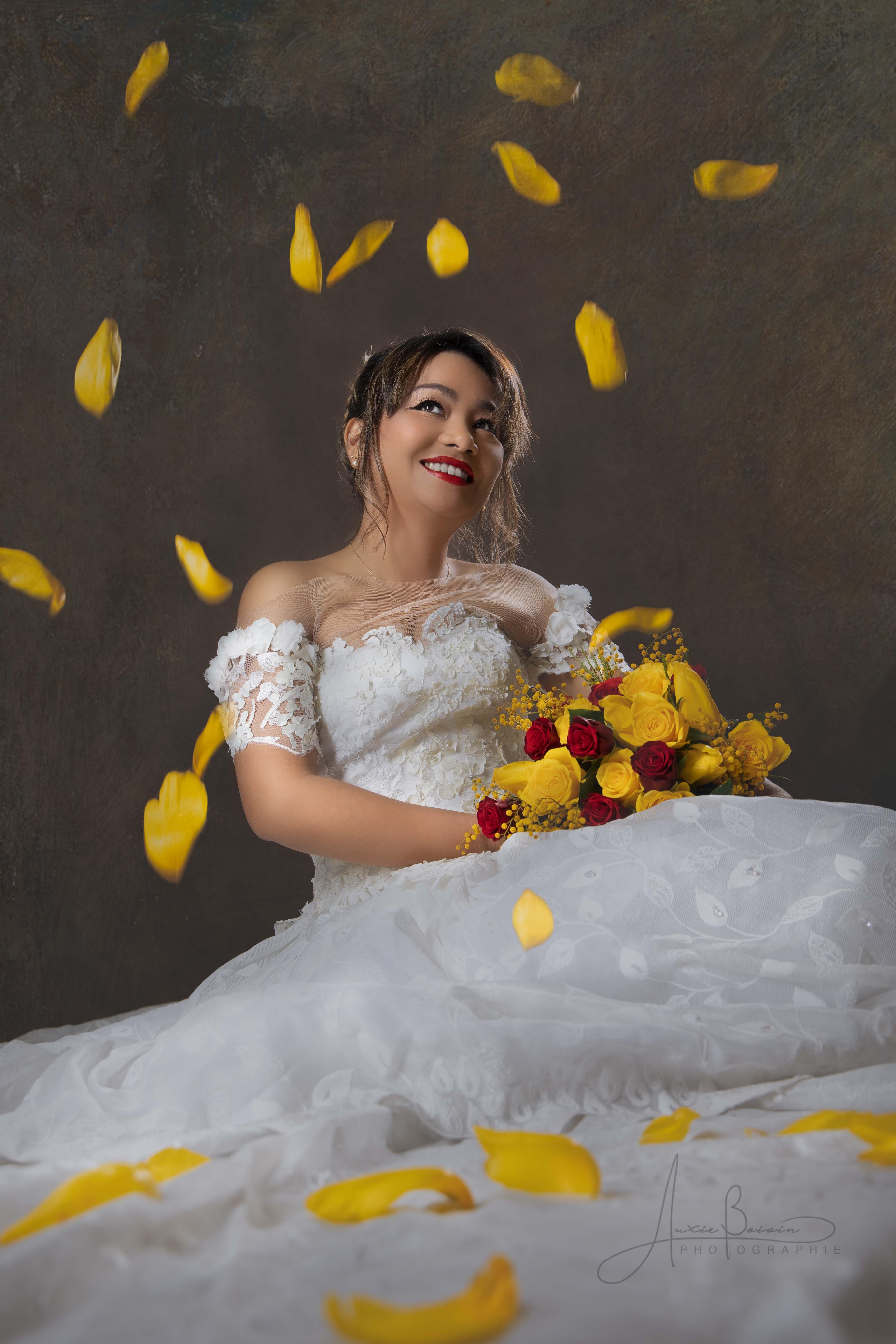 Marié avec bouquet